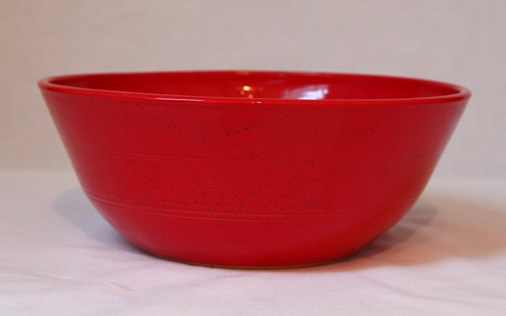 10 inch red serving bowl