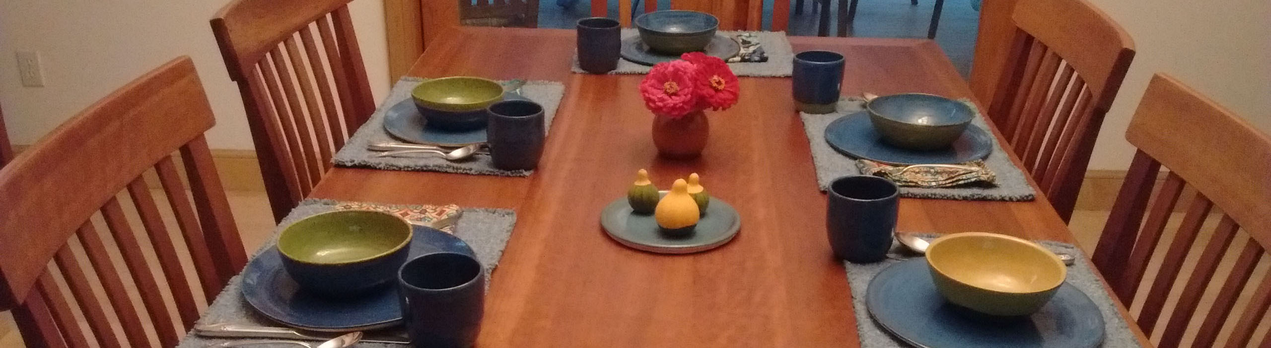 Table set with Sledding Hill pottery